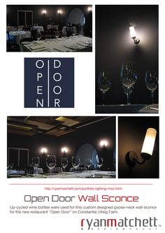 -  now OPEN check out our up-cycled wall sconces! Portfolio Lighting, Door Wall, Industrial Design, Wall Sconces, Custom Design, House Design, Bottle, Check, Home Decor