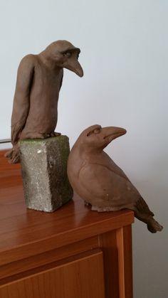 2 raven voor de tuin keramiek