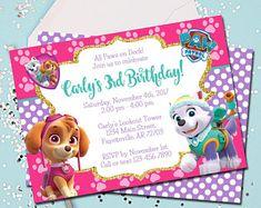 Girl PAW PATROL Invitation Paw Patrol Birthday Skye Invite Pink Printable 5x7