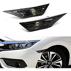 iJDMTOY (2) Left & Right JDM Smoked Side Marker Lamp Lens For 2016-up 10th Gen Honda Civic Sedan/Coupe/Hatchback