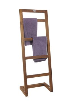 Amazon.com - Angled Teak Towel Stand - From the Spa Collection - Free Standing Towel Racks