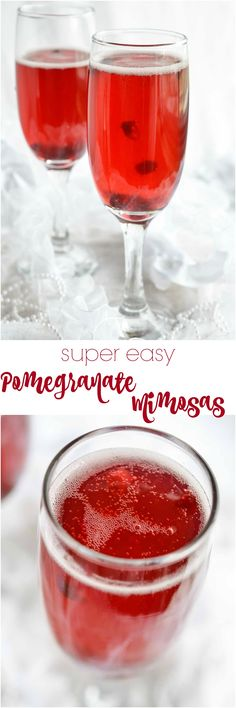 This Pomegranate Mimosa Recipe is perfect for New Year's Eve or brunch. A simple blend of champagne and pomegranate juice for a bubbly festive drink! Cheers!