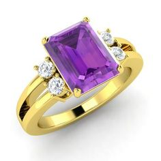 Emerald-Cut Amethyst  and Diamond  Cocktail Ring in 14k Yellow Gold