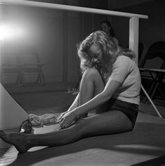 Marilyn Monroe, 22, takes dance lessons, Hollywood, 1949