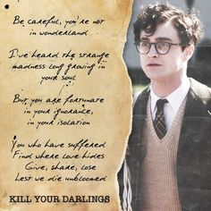 Daniel Radcliffe as Allen Ginsberg in Kill Your Darlings (2013).  Genre(s): historical drama, suspense (mild).