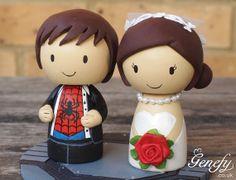 Cute Spiderman in tux  superhero wedding cake by GenefyPlayground, £88.00
