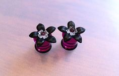 00G Black Flower Plugs with Swarovski Crystal by PerfectionPetals, $20.50