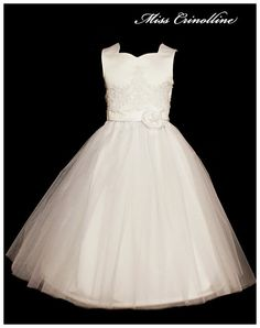 First Communion dress, white satin, tulle, handmade rose and embroidery decorated with pearls and crystals
