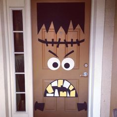 Freaky and cute Frankenstein doorway. It's not as complicated as it looks. All you need are cut outs to form just about any face of Frankenstein you would want to have.