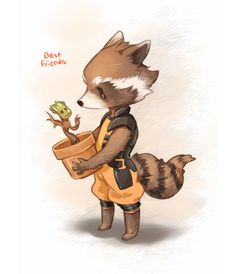 'I Am Cute' Get it like I am Groot! My favorites in GotG is totally Rocket and Groot. And Baby Groot too. Ms Marvel, Marvel Comics, Manga Comics, Captain Marvel, The Avengers, Avengers Fan Art, Marvel Fan Art, Rocket Raccoon, Raccoon Art