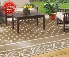 Rv Outdoor Rug 9x12 Reversible Area Carpet Brown Large Camper Camping Patio  Mat Rv Toilet Paper
