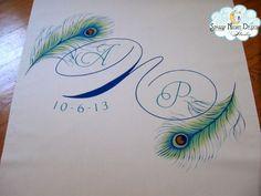 Royal peacock colors on a Fall wedding aisle runner. #weddingaislerunners, #fallweddingrunners
