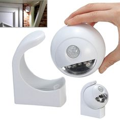 Battery Powered 360° Rotatable Motion Sensor LED Night Light Outdoor Indoor Wall Lamp