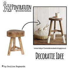 Decoratie Idee - Kruk Hout - #Pintratuin ♥ contrasten