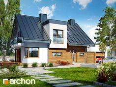 gotowy projekt Dom w amarylisach 3 Modern Family, Home And Family, Wooden House, Facade House, Attic Conversion, Ranch Style, Exterior Design, House Plans, New Homes