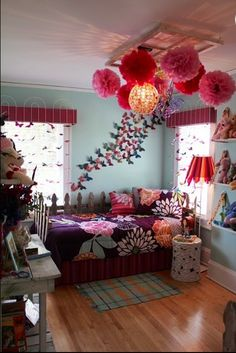 This room is so cute! Just look at the lampshade!! #teen bedroom #girls bedroom #bedroom