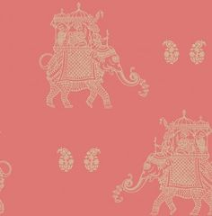 Ophelia (SZ001838) - Albany Wallpapers - A fun and flamboyant wallpaper design featuring a repeated motif of a stylised elephant. Shown here in the coral and gold colourway. Other colourways are available. Please request a sample for a true colour match. Paste-the-wall product.
