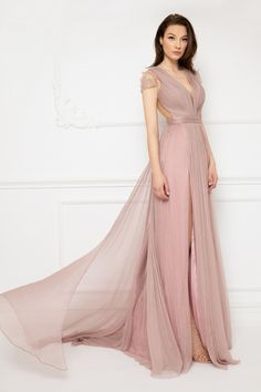 Cristallini - Embroidered Deep V-Neck Pleated A-Line Dress Silk Touch, Evening Dresses, Formal Dresses, Light Pink Color, Pleated Bodice, Bridesmaid Dresses, Wedding Dresses, Pageant Dresses, Stunning Dresses