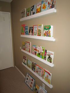 Tutorial: DIY Forward Facing Bookselves. This would be great in a playroom with comfy chairs for a kid's reading corner
