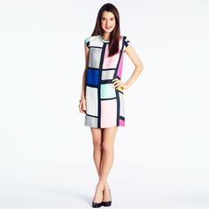 "kate spade | claudette dress in mondrian. $398 (which also means: ""Outrageous"")."