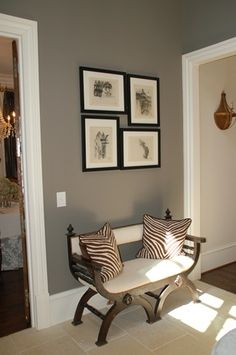 wall color looks similar to ours. Like the bench & photo display, maybe for mud room?
