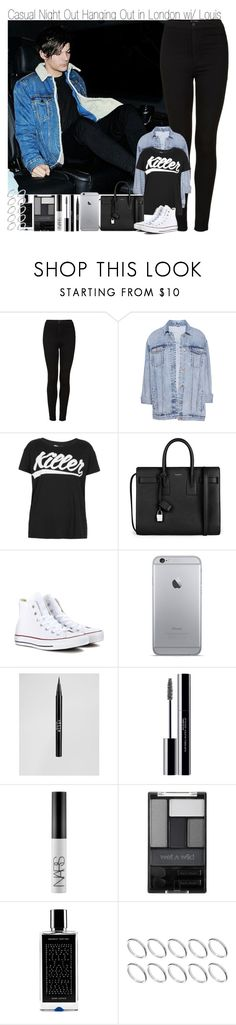 """Casual Night about Hanging in London with Louis"" by elise-22 ❤ liked on Polyvore featuring Topshop, Pull&Bear, Illustrated People, Yves Saint Laurent, Converse, Stila, shu uemura, NARS Cosmetics, Wet n Wild and Agonist"