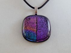 Glittery Dichroic Glass Pendant by ZacInTheBoxCreations on Etsy