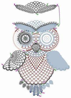 Схема вязания ажурной аппликации «сова». Вязаной совой можно украсить различные изделия или сделать панно.…
