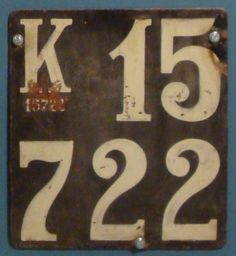 Danish license plate, 1928 (Copenhagen). Photo © Thomas Thorsen