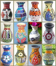 Various mosaic vases in different colors and styles
