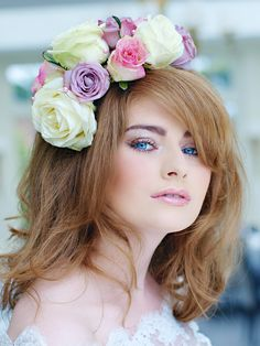 2014 Wedding Hair and Makeup, flowers in the hair, blue eye and pale lips by St Albans Hair + Makeup Wedding Hair And Makeup, Bridal Makeup, Hair Makeup, Hair Wedding, Pale Lips, St Albans, Floral Headpiece, Bridal Beauty, Flower Crown