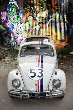 "A VW Beetle in classic ""Herbie No:53 colour scheme... we don't see many of these in the UK! See more about Volkswagen Beetles at www.vw-beetles.co.uk Your online source for everything Beetle related."