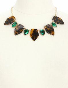 Gem & Tortoise Shell Collar Necklace: Charlotte Russe