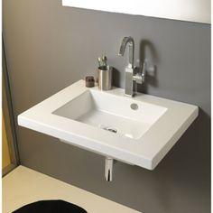 Bathroom Sink Rectangular White Ceramic Wall Mounted, Vessel, or Built-In Sink MAR01011 Tecla MAR01011
