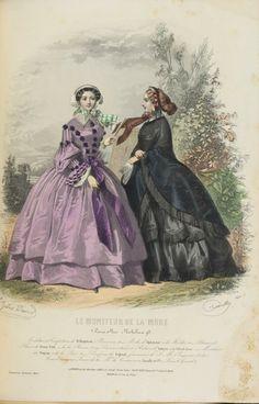 1857. walking dresses, Le Moniteur de la Mode.