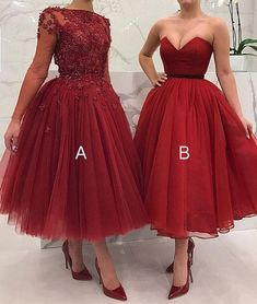 Cute burgundy tulle short prom dress, burgundy evening dress, Customized service and Rush order are available Red Formal Dresses, Tea Length Dresses, Ball Dresses, Strapless Dress Formal, Ball Gowns, Evening Dresses, Party Dresses, Cheap Homecoming Dresses, Unique Prom Dresses