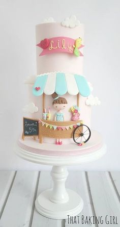celebration cakes What a cute cake for a little girl's birthday! Baby Cakes, Girly Cakes, Sweet Cakes, Gorgeous Cakes, Pretty Cakes, Cute Cakes, Amazing Cakes, Fondant Cakes, Cupcake Cakes