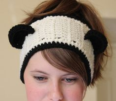 DECEMBER SALE* Enter coupon code DEC25 for 25% off*  Cute Crochet Panda Bear Ears winter headband headwrap - Adult size - black and white