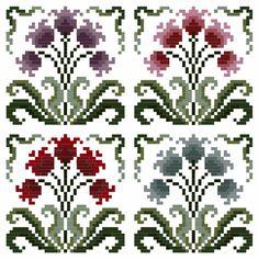 Un Paio di eleganti fiori Art Nouveau Donna campionatori cross stitch chart