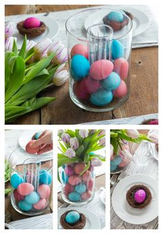 Make an egg-celent DIY Easter table! Decorate with vibrantly dyed eggs, from the place cards to the tablescape.