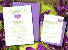 DIY Wedding Invitation RSVP Set - Typography Heart Microsoft Word Template - Lilac Purple Pistachio Green Simple Modern Wedding by PaintTheDayDesigns, $19.00