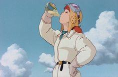 "Fio having a drink. ""Porco Rosso"" by Studio Ghibli"