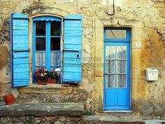 BLUE-SHUTTERS-DOOR-FACADE-FRENCH-HOUSE-FINE-ART-PRINT-POSTER-BMP300B
