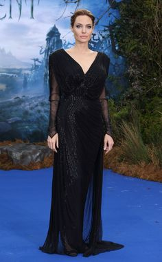 Angelina Jolie in Versace at the London premiere of Maleficent.
