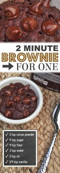 The BEST easy mug cake microwave recipe -- Brownie for one!! An easy single serving chocolate dessert in a mug or cup! Quick dessert recipe anyone can do. Vegan and dairy free. Listotic.com