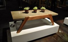 Stunning classic style on Exit 4 coffee table with light luminois concrete and lacquered walnut