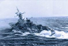 HMNZS Otago -Probably the best known photo of Otago taken during Operation Shopwindow in Cook Strait Navy Marine, Navy Military, Military News, Military Humor, Yamato Battleship, Sea State, Model Warships, Royal Australian Navy, Us Navy Ships