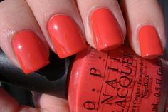 OPI Cajun Shrimp - my new favorite for summer. It has a mix of pink, orange and red hues. Love it!