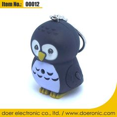 Flashlight Owl Shaped LED Key Chain with Sound | Doer Electronic the Animals Novelty Gadgets Supplier from China, Welcome to the World of Animals Fun.