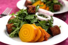 Roasted Yellow Beet Salad With Warm Maple Mustard Dressing | Post Punk Kitchen | Vegan Baking & Vegan Cooking